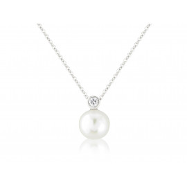 9ct White Gold Round Pearl & Diamond Pendant Necklace