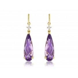 9ct Yellow Gold Amethyst & Diamond Earrings