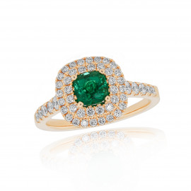 18ct Yellow Gold Diamond & Emerald Wed Fit Ring