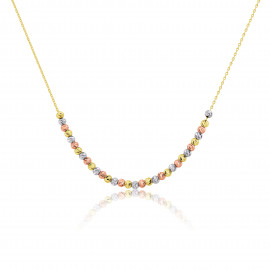 9ct Rose, Yellow & White Gold Bead Necklet