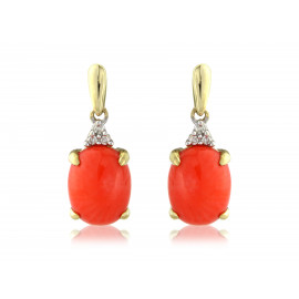 9ct Yellow Gold Diamond & Coral Oval Drop Earrings