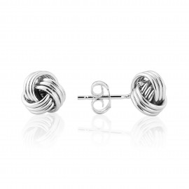 9ct White Gold Knot Earrings