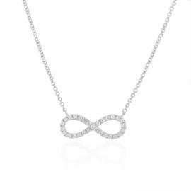 9ct White Gold Diamond Infinity Necklace