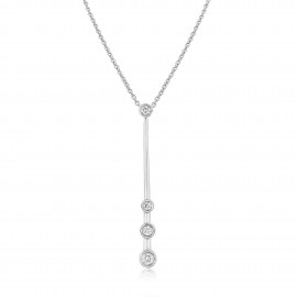 9ct White Gold Diamond Drop Pendant Necklace