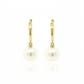 9ct Yellow Gold Culture Pearl Huggy Earrings