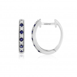 9ct White Gold Sapphire & Diamond Hoop Earrings