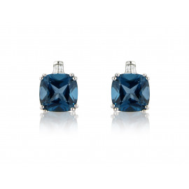 9ct White Gold Baguette Diamond & London Blue Topaz Earrings
