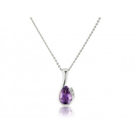 9ct White Gold Amethyst & Diamond Curl Pendant Necklace