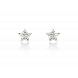 9ct White Gold Diamond Star Earrings