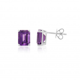 9ct White Gold Amethyst Earrings