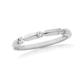 18ct White Gold Diamond Notch Ring