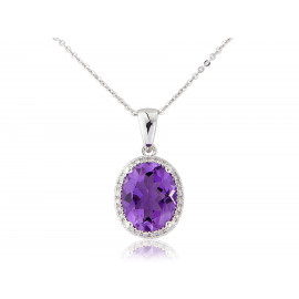 9ct White Gold Amethyst & Diamond Pendant Necklace