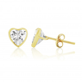 9ct Yellow Gold Cubic Zirconia Heart Earrings (Large)
