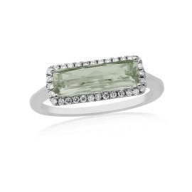 9ct White Gold Diamond & Green Amethyst Ring