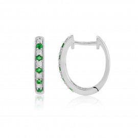 9ct White Gold Emerald & Diamond Hoop Earrings