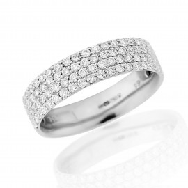 18ct White Gold Diamond 4 Row Pavee Ring