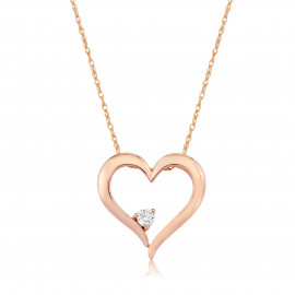9ct Rose Gold Diamond Heart Pendant Necklace