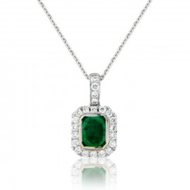 18ct White Gold Emerald Diamond Surround Pendant Necklace