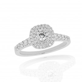 18ct White Gold Diamond Halo Wed Fit Ring