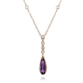 9ct Rose Gold Diamond & Amethyst Necklace