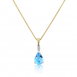 9ct Two Colour Diamond Blue Topaz Pendant Necklace