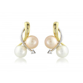 9ct Gold Pearl & Diamond Earrings