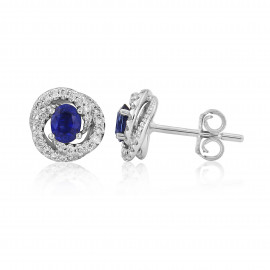 18ct White Gold Sapphire & Diamond Fleur Earrings