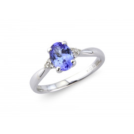 9ct White Gold Diamond & Tanzanite Oval Ring