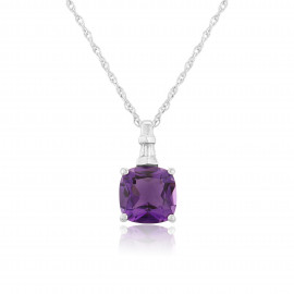 9ct White Gold Diamond & Amethyst Pendant Necklace
