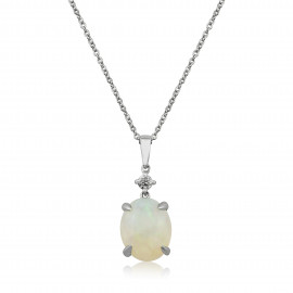 9ct White Gold Diamond & Opal Pendant Necklace