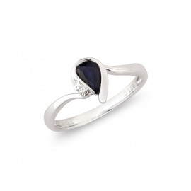 9ct White Gold Diamond Sapphire Pear Ring