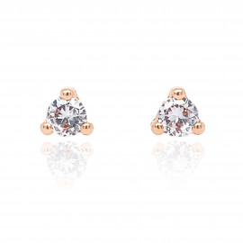 9ct Rose Gold Cubic Zirconia Trilliant Earrings