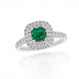 18ct White Gold Diamond & Emerald Wed Fit Ring