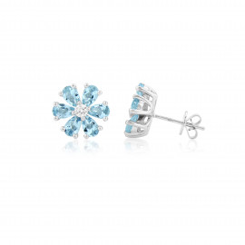 9ct White Gold Diamond & Aquamarine Flower Earrings