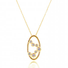 9ct Yellow Gold Diamond Bubble Pendant Necklace