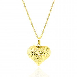 9ct Yellow Gold Textured Heart Pendant Necklace