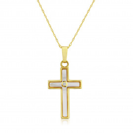 9ct Yellow Gold Diamond & Mother of Pearl Cross Pendant Necklace