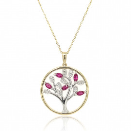 9ct Yellow and White Gold Diamond with Rubies Tree of Life Pendant Necklace