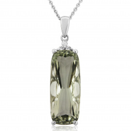 9ct White Gold Diamond & Green Amethyst Pendant Necklace