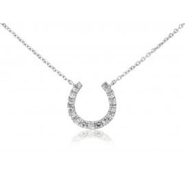9ct White Diamond Horseshoe Necklace