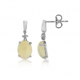 9ct White Gold Diamond & Opal Earrings