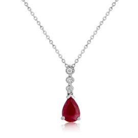 9ct White Gold Ruby & Diamond Drop Pendant Necklace