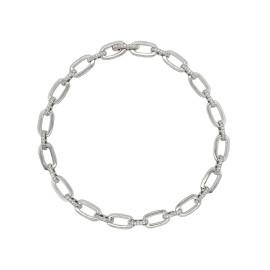 9ct White Gold & Diamond Alternating Bracelet