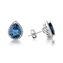 9ct White Gold Diamond & Blue Topaz Earrings