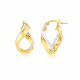 9ct Yellow & White Gold Loop Earrings