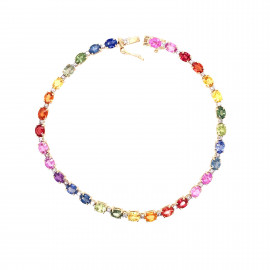 9ct Yellow Gold Oval Set Rainbow Sapphire Bracelet