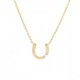 9ct Yellow Gold Diamond Horseshoe Necklace