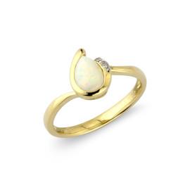 9ct Yellow Gold Diamond Opal Pear Ring