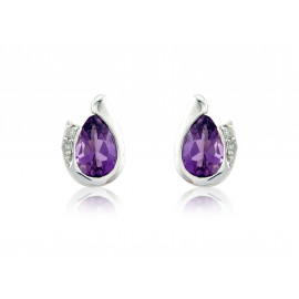 9ct White Gold Amethyst & Diamond Curl Earrings
