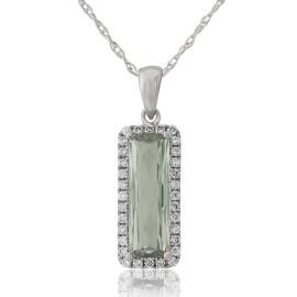9ct White Gold Diamond & Green Amethyst Cushion Pendant Necklace